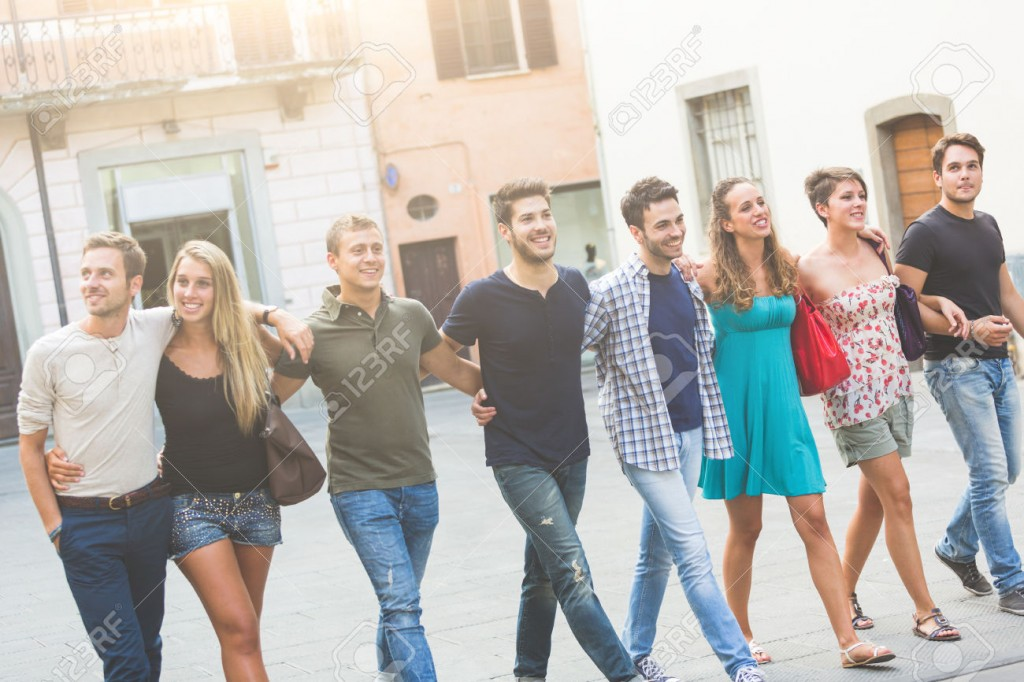 Group of Friends in Town Square, Friendship Theme