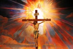 A crucifix hangs before a mural depicting the Resurrection in the sanctuary at St. Timothy Parish in Mesa, Ariz. (CNS photo/J.D. Long-Garcia, Catholic Sun) (April 4, 2007)